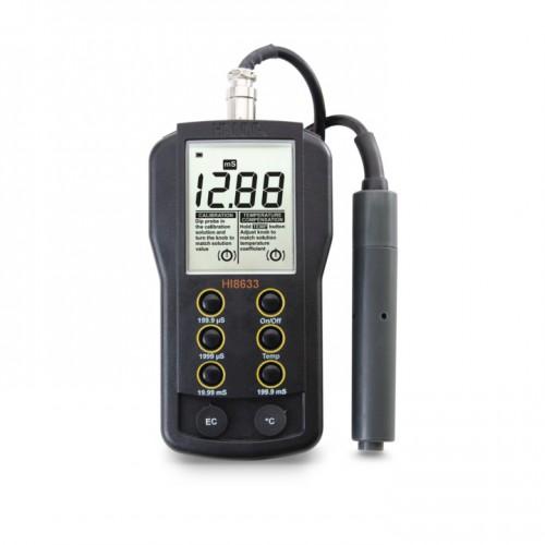 Conductímetro portátil (0,0 microS/ cm a 199,9 mS/ cm) impermeable, compensación manual temp
