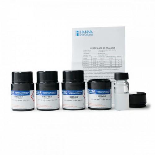 "Kit de patrones calibración AMCO-AEPA """"CAL CHECK"""" trazable a NIST para turbidímetro HI83749, 0,1, 15, 100 y 500 NTU"